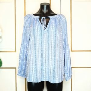 Tommy Hilfiger Chambray Stripe Floral Blouse Top